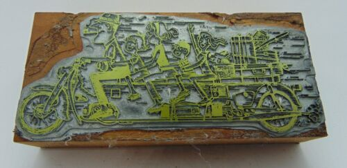 Printing Letterpress Printers Block Family Of 5 On Extended Motorcycle