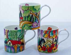 Set of 3 Delightful Art Deco Style Fine bone China Mugs