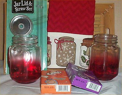 Gift Basket Mason Jar Mugs Lids Straws Kitchen Towels Crush Grape Singles Tray ()