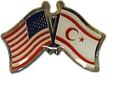 Pack of 50 USA American Northern Cyprus Friendship Flag Bike Hat Cap lapel Pin