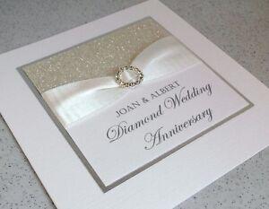 Personalised handmade diamond wedding 60th anniversary card or invitation