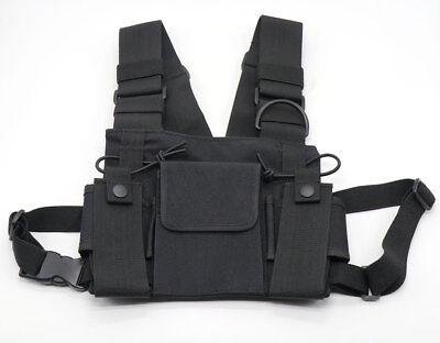 3 Pocket Chest Pack Bag Harness for Motorola Baofeng KENWOOD Walkie Talkie Radio