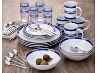 New white/blue 36 piece dinner set with cutlery glasses mugs