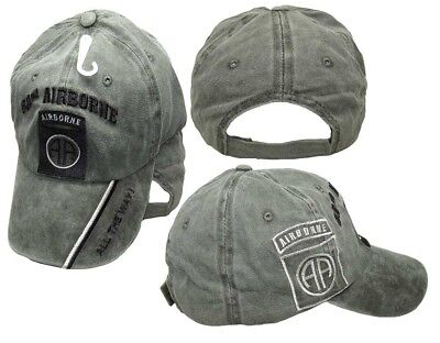 82nd Airborne All The Way! Olive Stone Washed Shadow Embroidered Cap CAP627B - Washed Caps Olive