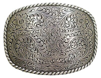 Western Style Engraved and Silver Plated Decorative Belt Buckle