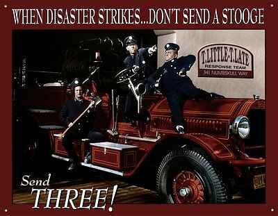 The Three Stooges Fire Department Tin Sign Metal Poster ~ Made in the USA