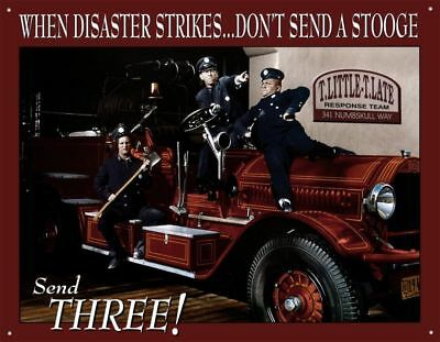 Three Stooges Fire Department Tin Sign Metal Poster Funny Truck Fighter Bar Pub