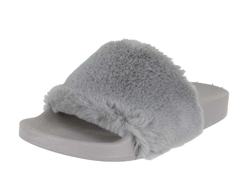 Trendy Cute Women's Furry Fur Slide Slippers