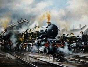 BEAUTIFUL PRINT / PICTURE / PAINTING OF A STEAM TRAIN SWINDON PRIDE