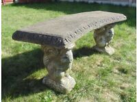 (#698) concrete squirrel garden bench (Pick up only, Dy4 area)