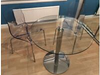 John Lewis Enzo 2-Seater Round Glass Top Dining Table and two chairs