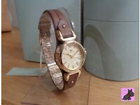 Radley - RY2316 - Gold Plated Oval 'Grosvenor' Brown Leather Strap - NEW RRP £95