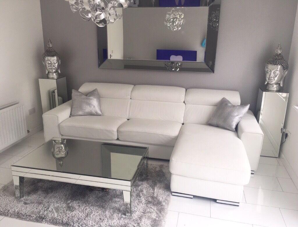 Dfs White Leather Kalamos Sofa In Portlethen Aberdeen