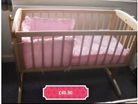 Mothercare swing crib with mattress and linen