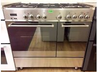 DeLonghi STAINLESS STEEL 90cm, Dual Fuel RANGE COOKER + 3 Month Guarantee + FREE LOCAL DELIVERY