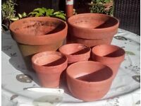 6 weathered terracotta plant pots