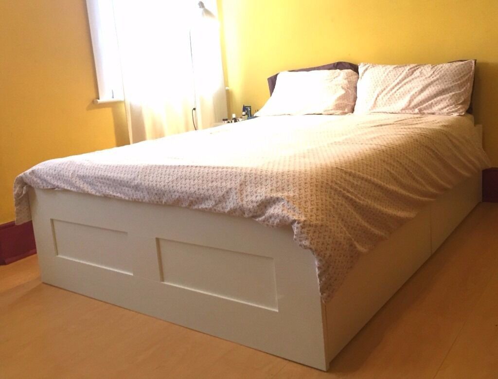 for sale ikea double brimnes bed frame w storage white - Brimnes Bed Frame