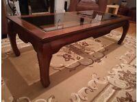 Coffee Table Wooden Solid Mahogany Glass Panels - 137cm x 60cm x 41cm