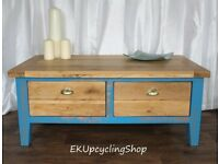 Large Upcycled Coffee Table, Vibrant Blue with Bronze Highlights
