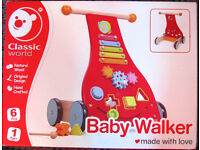 Classic World Wooden Baby Walker, boxed like new.