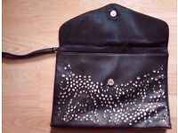 Black Cut Out Patterned Clutch Bag Purse with Lace Bow.