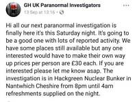 Hack green bunker paranormal investigation TONIGHT