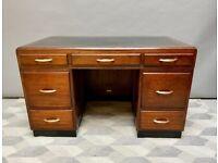Large Vintage Wooden Desk with Drawers Oak