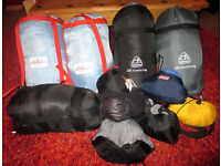 BUNDLE OF SLEEPING BAGS AND CAMPING PILLOWS