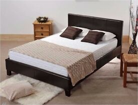*NEW YEAR SALE**DOUBLE LEATHER BED WITH OUT STORAGE WITH YOUR CHOICE OF MATTRESS N BROWN BLACK
