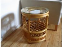 Bamboo/Rattan Glass top Table