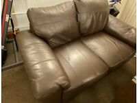 FREE - collection only - 2 seater dark brown leather sofa
