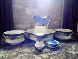 Vintage Porcelain Jug & Washbasin plus Accessories