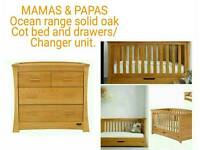 Mamas & Papas Ocean range solid oak cot bed and drawers /changer unit