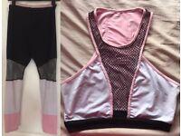 Women's Gym Fitness Crop Bra Leggings Set, M