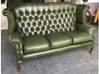 Rare 3 seat Queen Anne Wingback Chesterfield sofa WE DELIVER UK