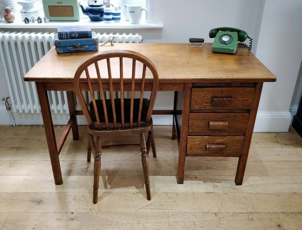 Wooden 1940 S Desk With Drawers Vintage Office Study