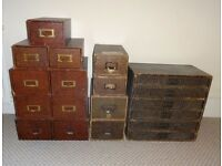 Vintage set of filing index drawers and chest