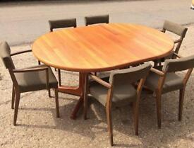 Retro extendable dining table & 6 Chairs