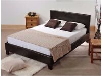 GUARANTEED STOCK SUPREME QUALITY --- Double Leather Bed With 9Inch Deep Quilted Dual Sided Mattress
