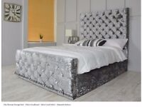 brand new cream black silver chesterfield crush velvet double bed base + headboard and mattress