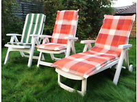 Updated 20.10.2016: 2 recliner garden chairs & 1 lounger with cushions - Collect in TN4 Southborough