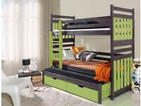 TRIPLE BUNK BED PULL OUT GUEST BED WITH MATTRESSES CHILDREN FURNITURE