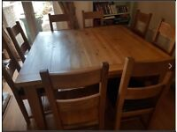 Square Solid Oak 8 seat dining table and 8 chairs
