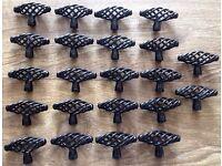22x plastic coated metal black decorative handles