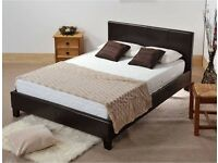 14-DAY MONEY BACK GUARANTEE - DOUBLE LEATHER BED AND LUXURY MEMORY FOAM MATTRESS - BRAND NEW