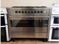 Brandt -STAINLESS STEEL, Fan Assist, DUAL FUEL RANGE COOKER+ 3 Month Guarantee + FREE LOCAL DELIVERY