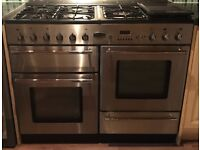 Rangemaster Toledo 110 s/s gas cooker hood and Splash Back