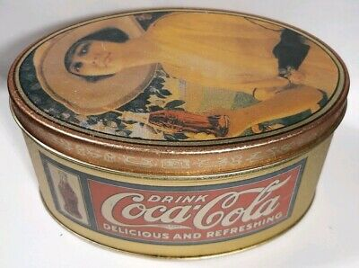 Vintage Coca Cola Tin Oval Metal Colorful Advertising Elaine 1984 Old Accents