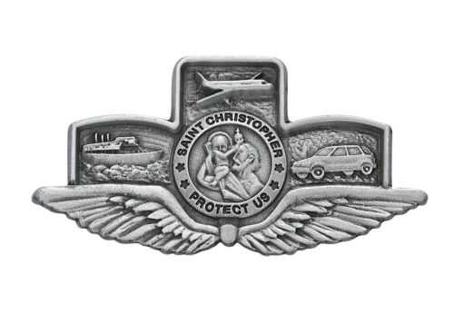 Visor Clip St Christopher Medal & Wings Silver Pewter Catholic Vintage Car Auto