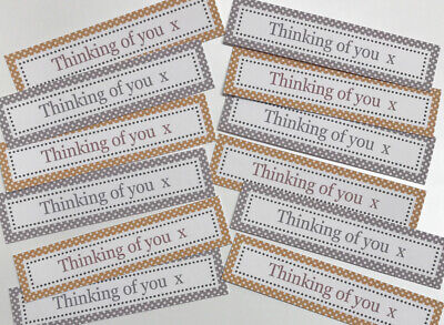 12 THINKING OF YOU Sentiments/Banners NEUTRAL COLOURS New Hand Made Card Toppers